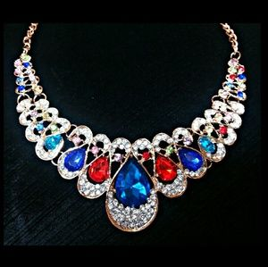 Faux Gemstone and Crystal Statement Necklace